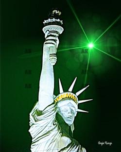 """lady liberty"" green light flare"