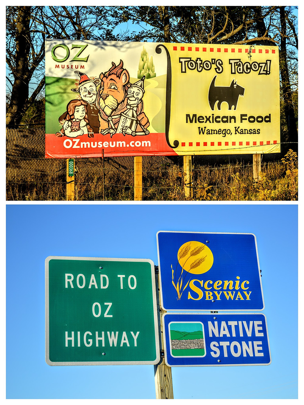 Signs for the Oz Museum and Toto's Tocoz off of highway 99, near Wamego Kansas