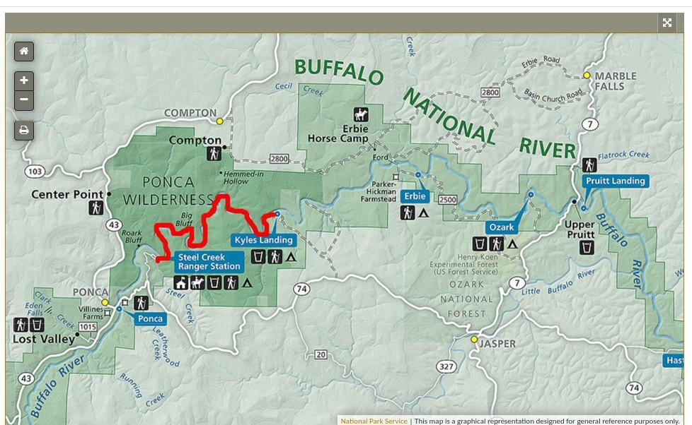 Map of Buffalo River float trip Steel Creek to Kyles Landing, Arkansas