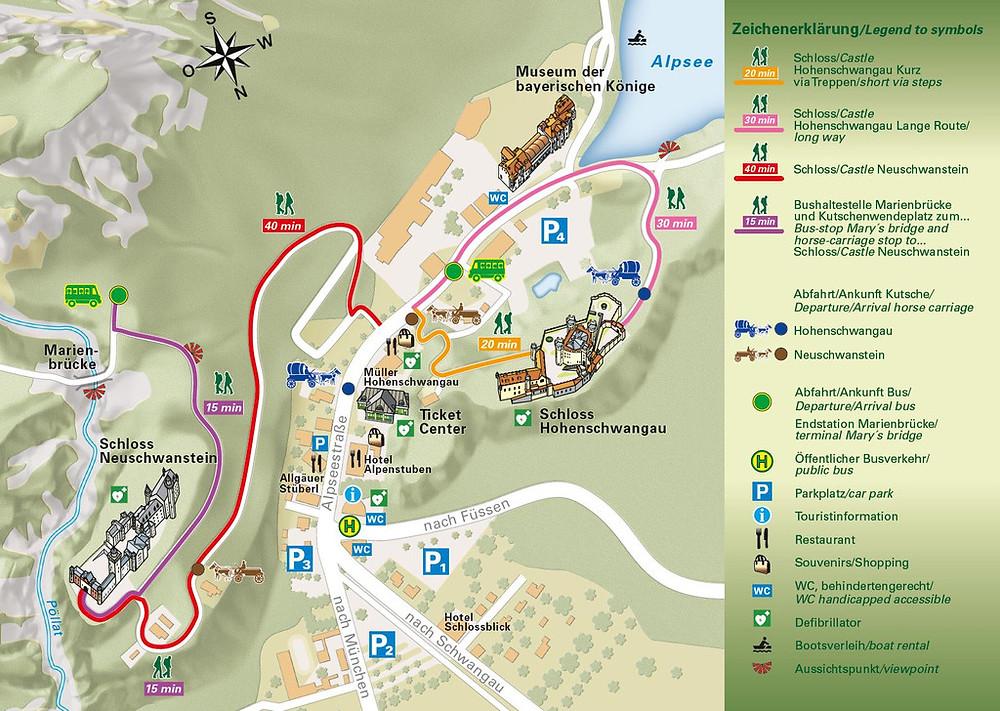 map neuschwanstein and hohenschwangau castles bavaria germany