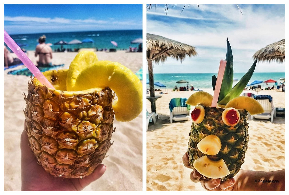 frosty fruity pineapple drinks on the beach in Puerto Penasco, Rocky Point Mexico