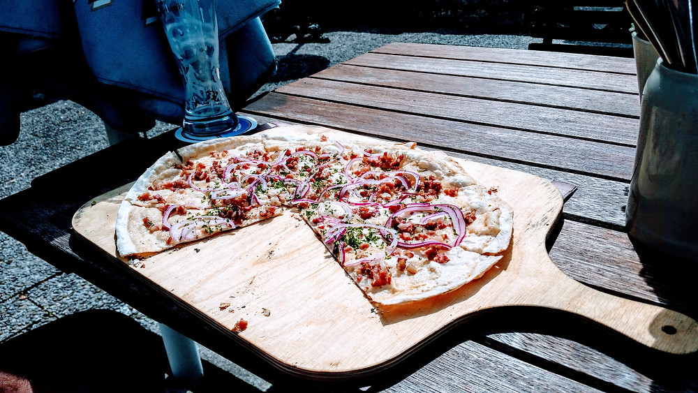 Flammkuchen at Eibsee Alm restaurant Eibsee Lake at the base of Zugspitze Mountain, Bavaria Germany