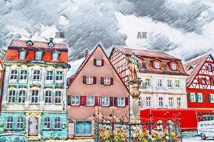 badwindsheim watercolor, germany
