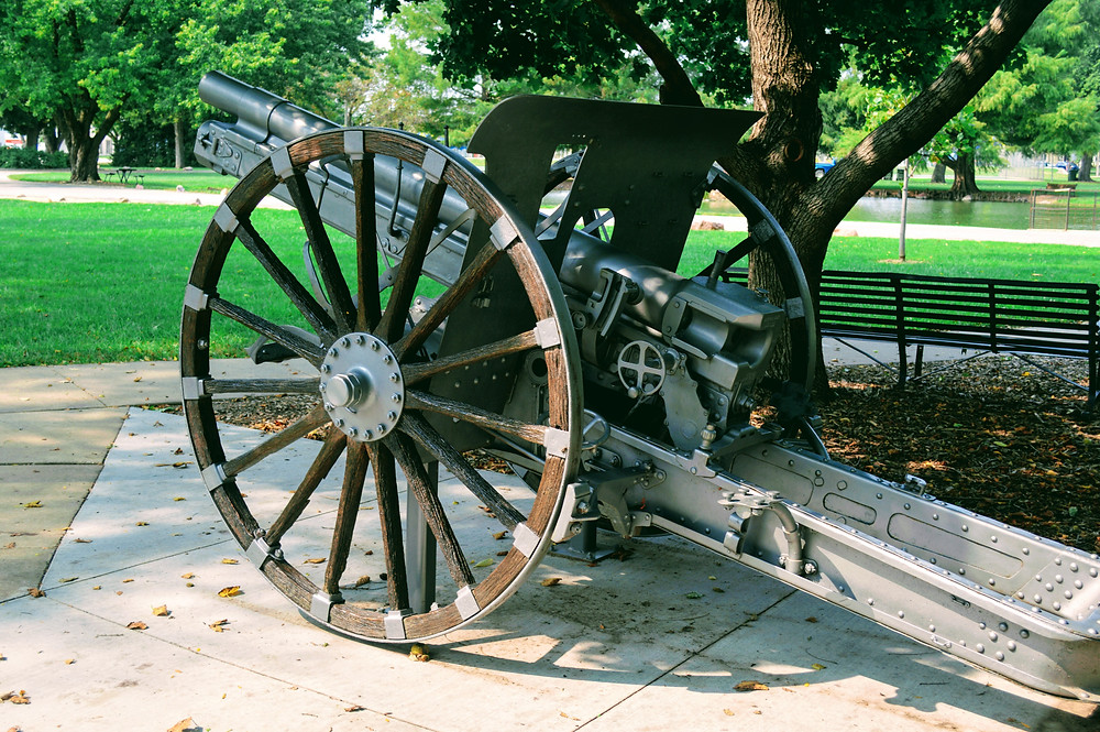 artillery, gun, Wamego City Park, Pottawatomie County Kansas, Wamego Historical Society Museum, travel visit Kansas, war