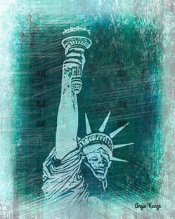 """lady liberty"" green etch"