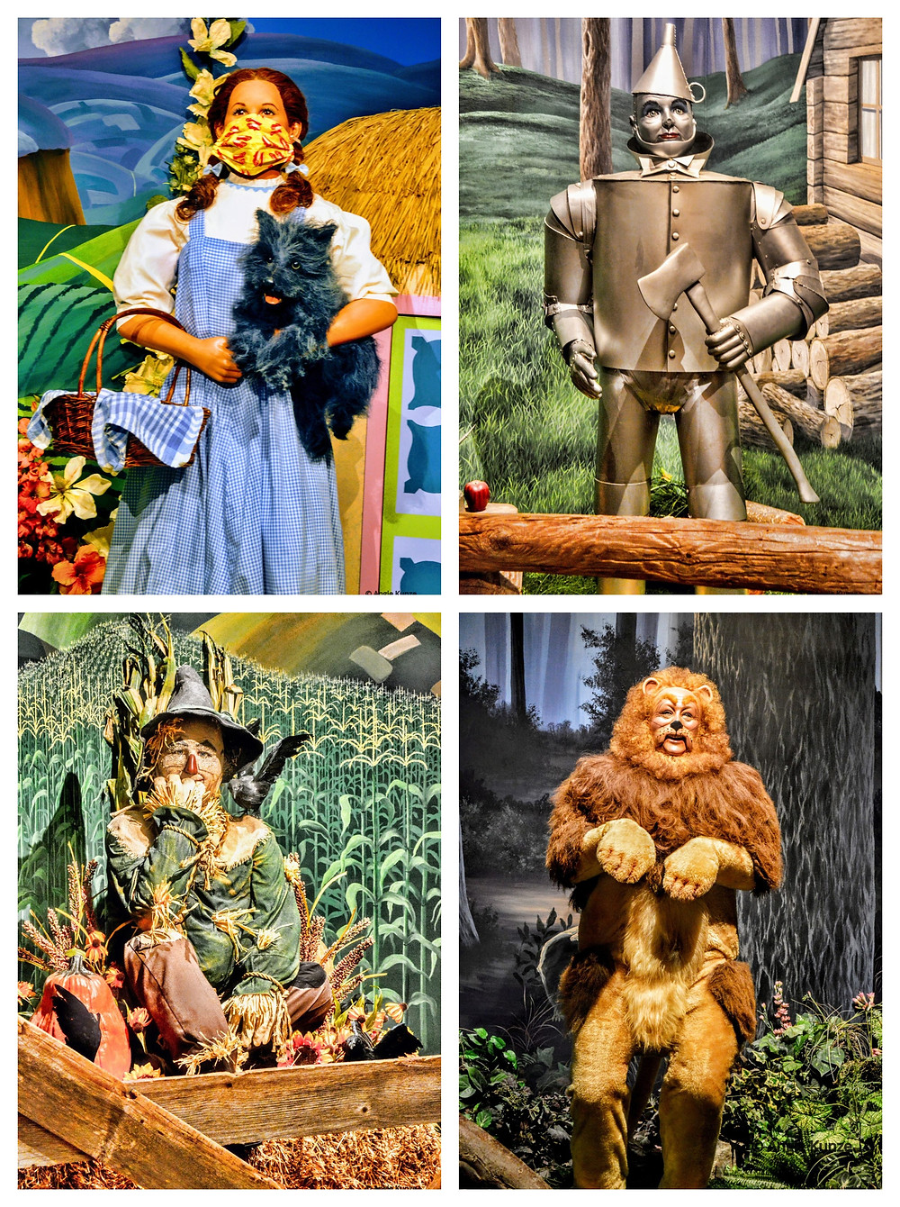 Wizard of Oz Characters at the Oz Museum in Wamego Kansas, Dorothy Gale, The Tin Man, The Scarecrow and the Cowardly Lion