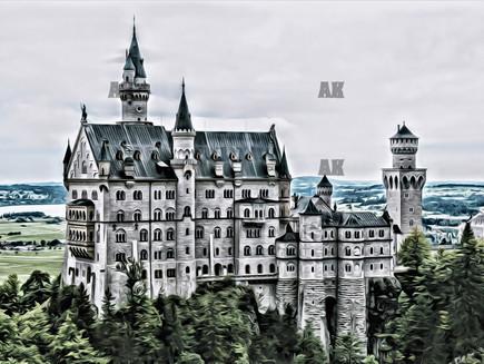 Hohenschwangau Castle, and King Ludwig II's fairytale castle, Neuschwanstein