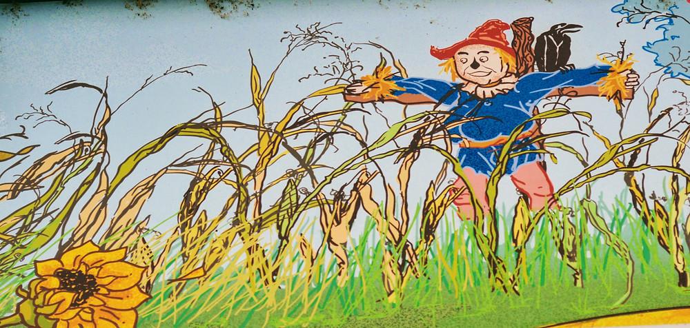 "Artwork from the exterior of the Oz Museum, Wamego Kansas. ""Scarecrow"""