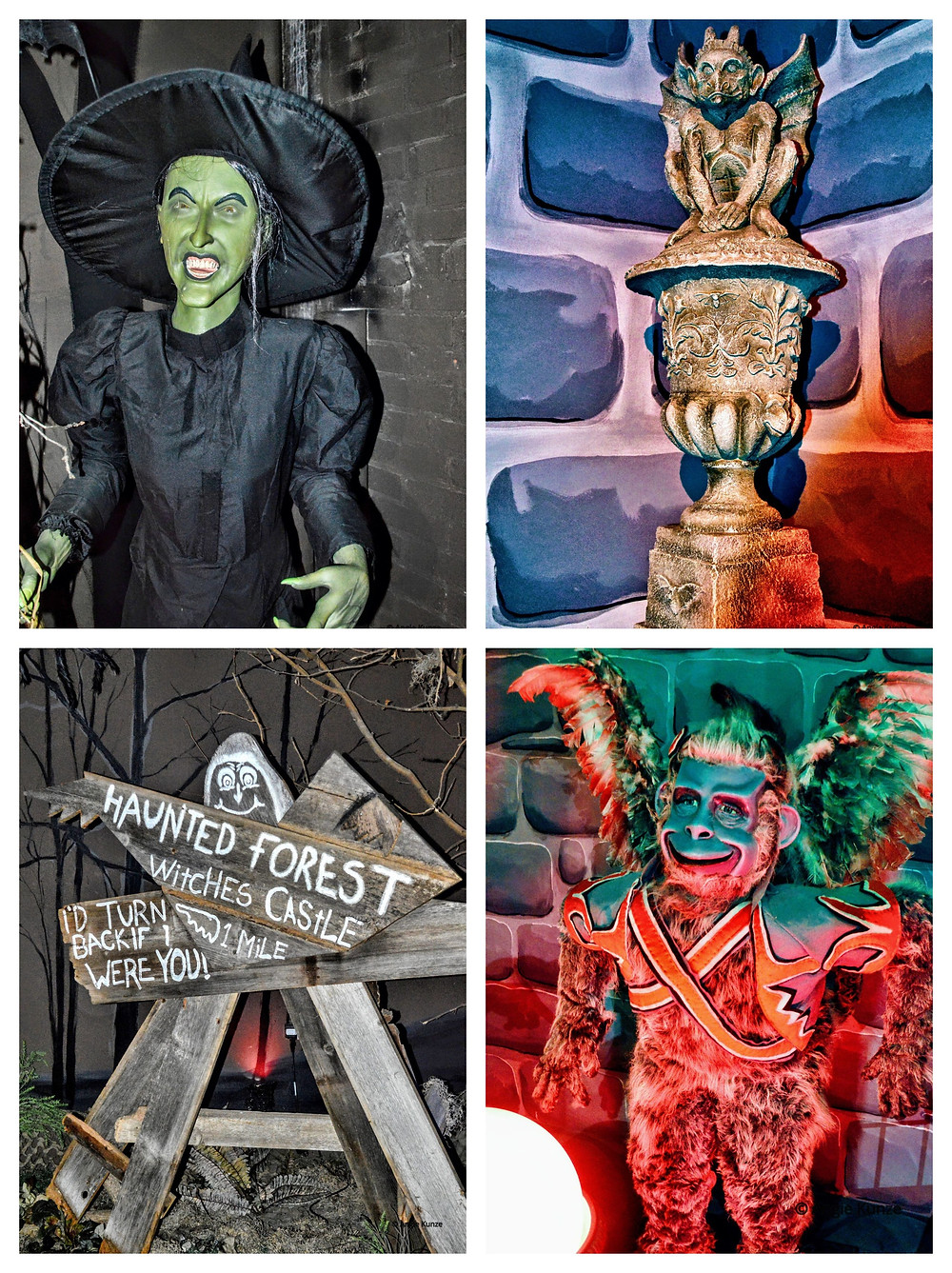 Wizard of Oz Characters at the Oz Museum in Wamego Kansas, the Wicked Witch and a flying monkey in the haunted forest