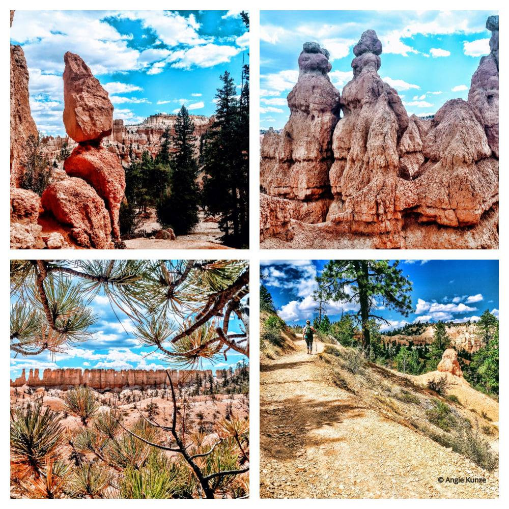 collage of sites, sights and scenery Bryce Canyon National Park in Utah