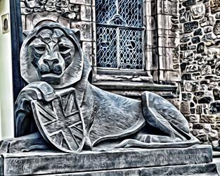 edinburgh castle lion, scotland