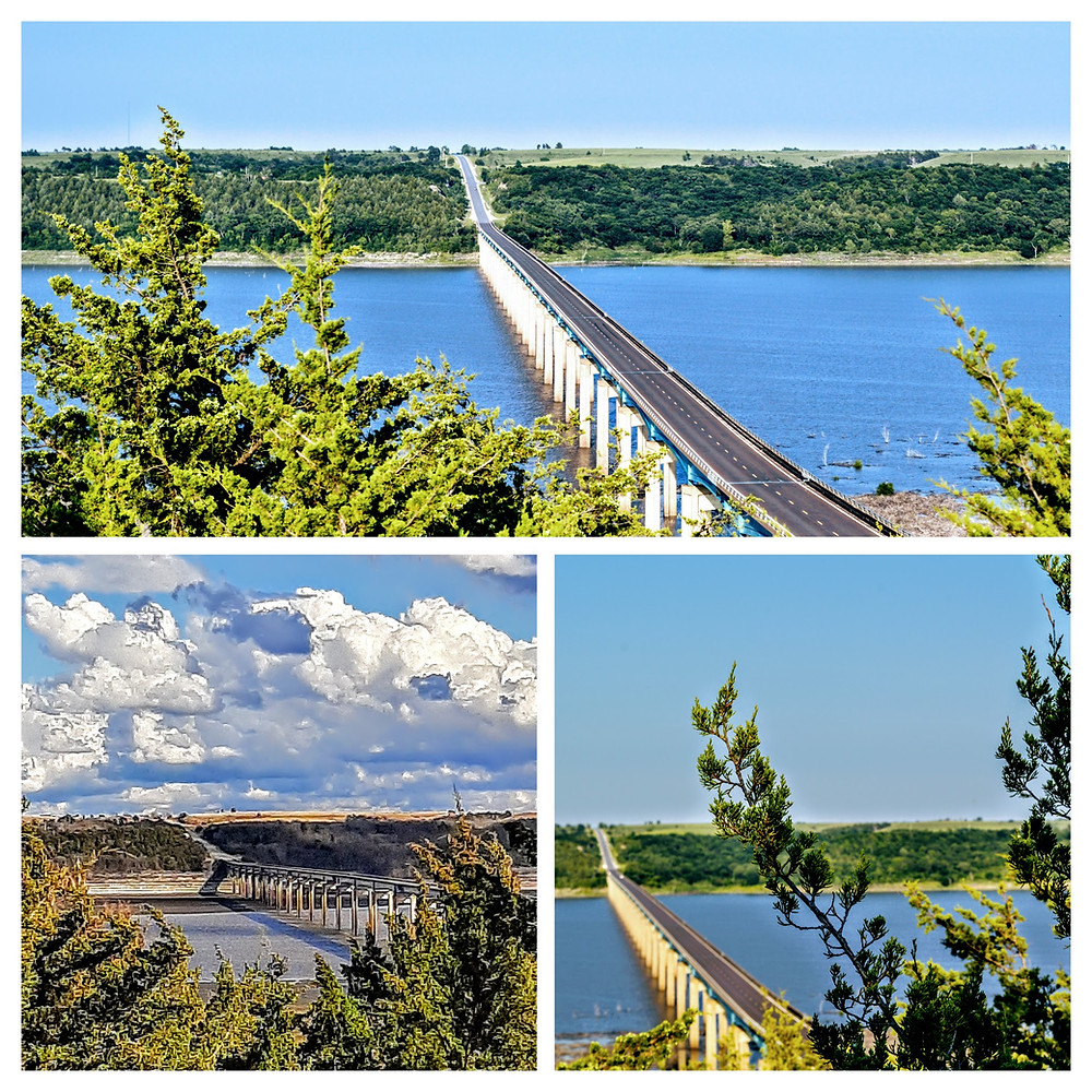 Mile long bridge, Randolph Bridge, Tuttle Creek Lake, Randolph, Riley County Kansas, longest bridge in Kansas.