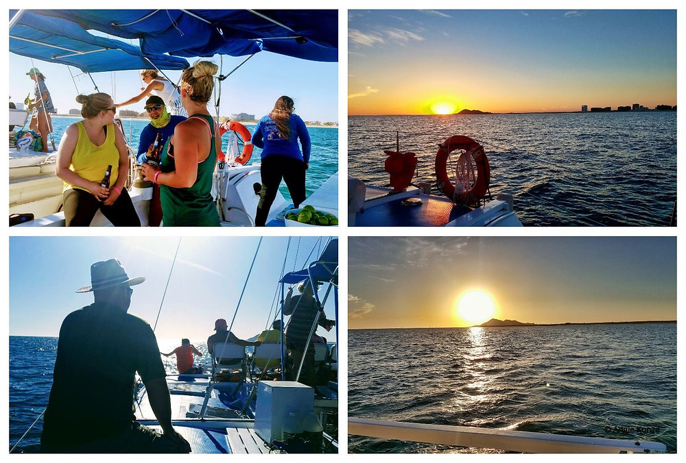 Sunset Catamaran boat cruise on the Sea of Cortez, Gulf of California, from Del Mar Charters in Puerto Penasco Rocky Point Mexico