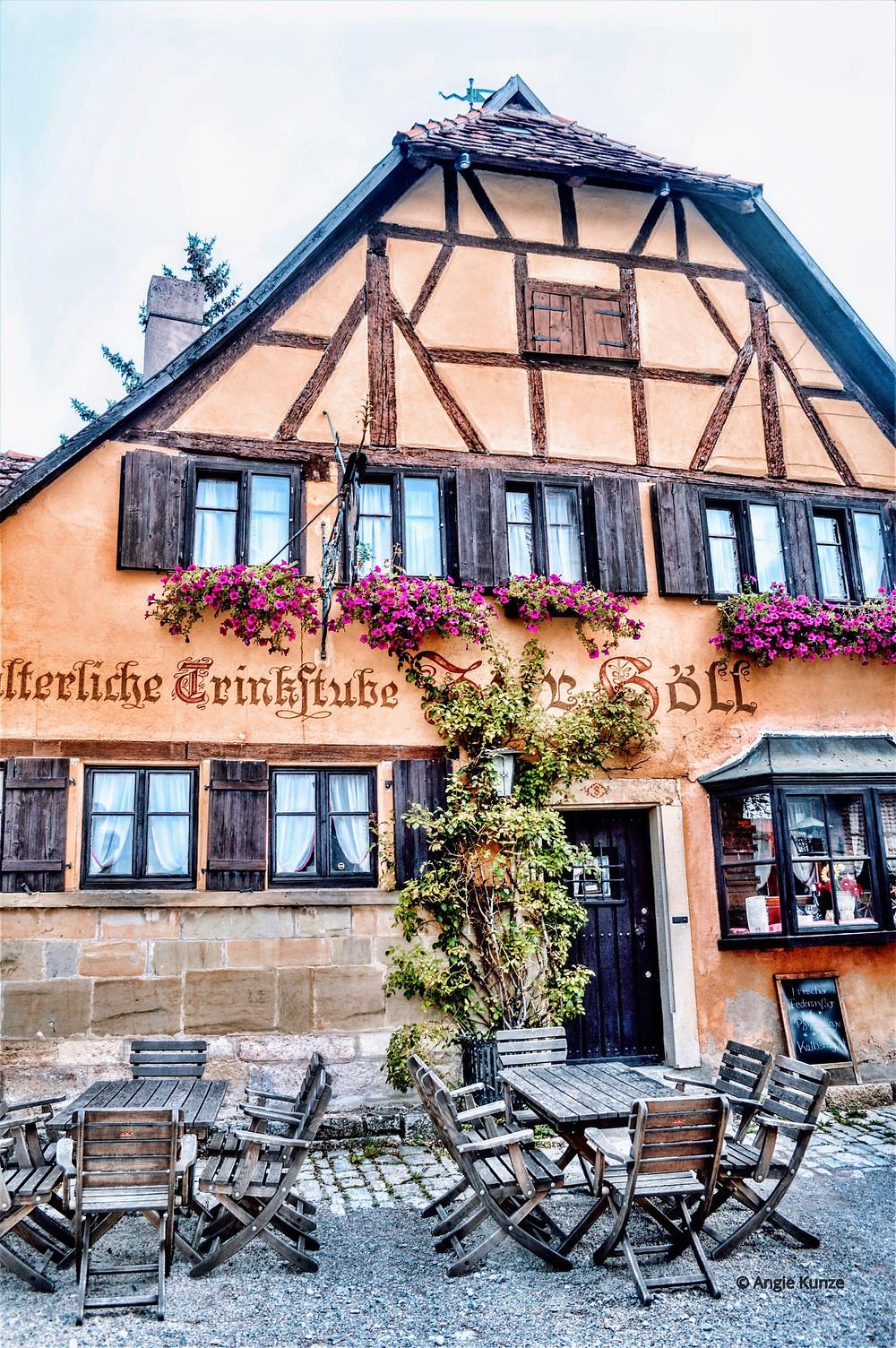 Zur Holl Restaurant, Rothenburg ob der Tauber, Bavaria Germany. Historic places to eat.