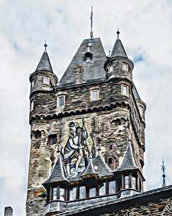 """reichsburg castle tower"" cochem germany"