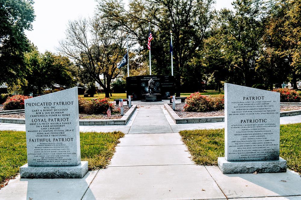 War Memorial, Wamego City Park, Pottawatomie County Kansas, sacrifice, some gave all, the wall of the fallen, travel visit Kansas, war heros, ultimate sacrifice
