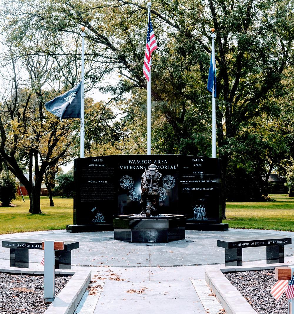 The Wall of the Fallen, Wamego City Park, Veterans Memorial Pottawatomie County Kansas, travel visit Kansas, war heros, sacrificed all, ultimate sacrifice