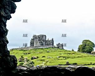 """rock of cashel from the abbey"" cashel ireland"