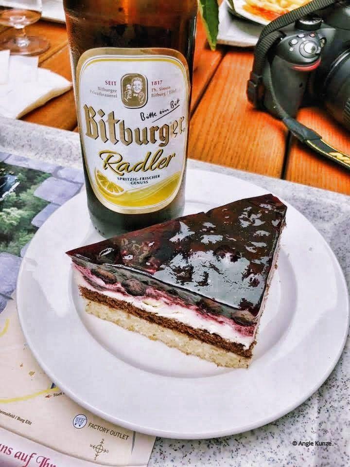 cherry torte Bitburger Radler from the imbiss/ restaurant at Berg Eltz Castle