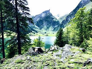mountain in Switzerland on Seealpsee lake in my Europe blog menu