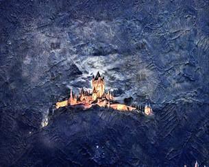 """reichsburg castle at night"" cochem germany"