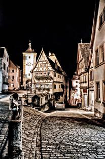 plonlein rothenburg night, germany