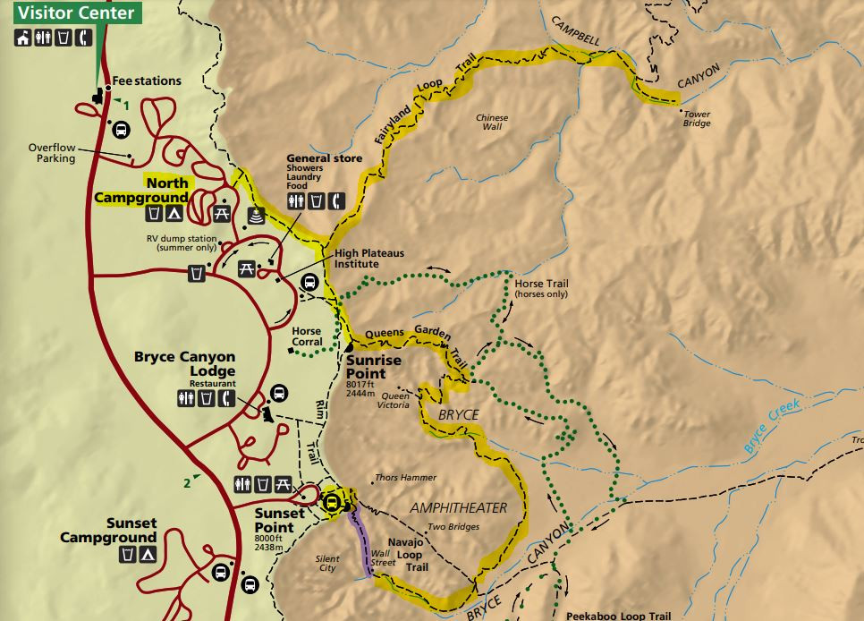 recommended hiking trail route in Bryce Canyon National Park, Rim trail to Fairyland Loop Trail to Tower Bridge and back to Rim Trail, on to Queens Garden Trail, to Navajo Loop Trail and then Wall Street trail climbing out of the canyon