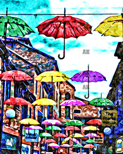 """umbrellas of york"" painted style, york england"
