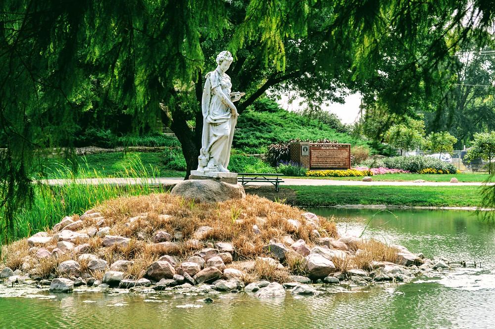 Statue in Wamego City Park Pond, Pottawatomie County Kansas, travel visit Kansas