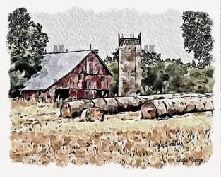 """""""little red barn"""" kansas, white border"""
