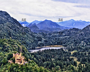 hohenschwangau in the distance, germany