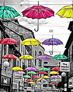 """""""umbrellas of york"""" black, white, color pop, york england"""