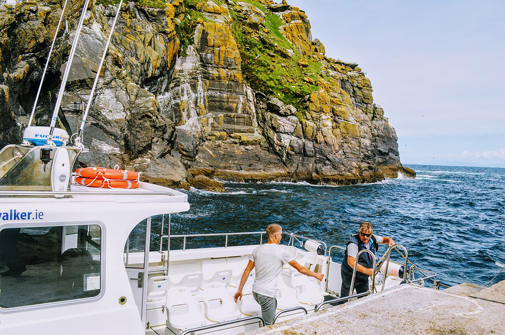The Wild Atlantic Ocean, boat for hire, landing tour Skellig Michael, off the cost of the Kerry Peninsula in Ireland.