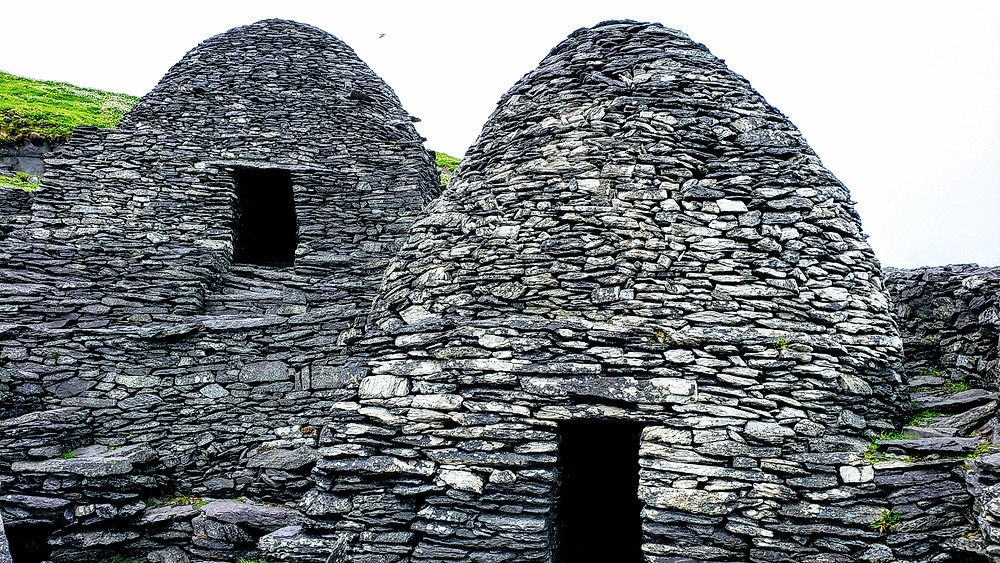 Beehive Huts, Skellig Michael, off the cost of the Kerry Peninsula in Ireland, ancient monk colony,