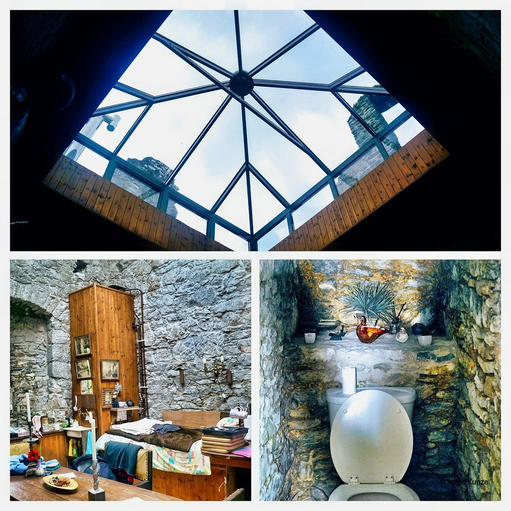 castle rental with a skylight at Ballintotis Castle in Ireland, third floor of the castle with a bathroom.