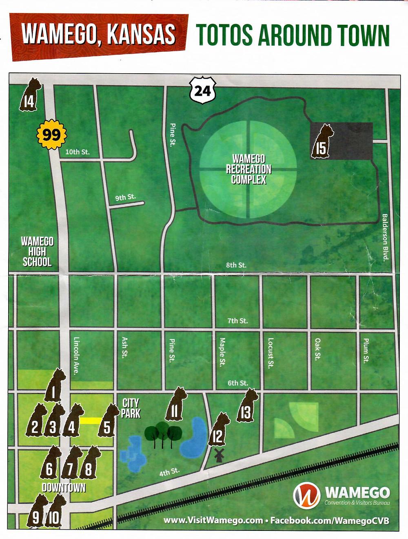 Totos Around Town Map, Wamego Kansas