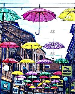 """""""umbrellas of york"""" watercolor, york england"""