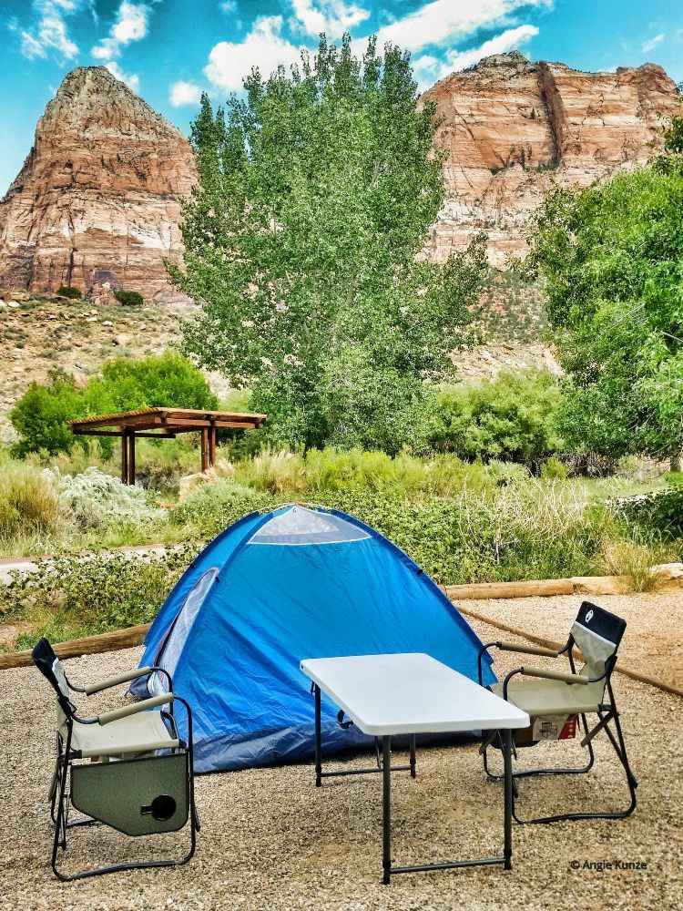 Watchman campground campsite in Zion National Park Utah