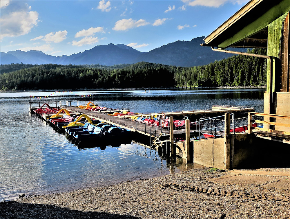 boat rental at Eibsee Lake at the base of Zugspitze, Germany's highest mountain in Bavaria