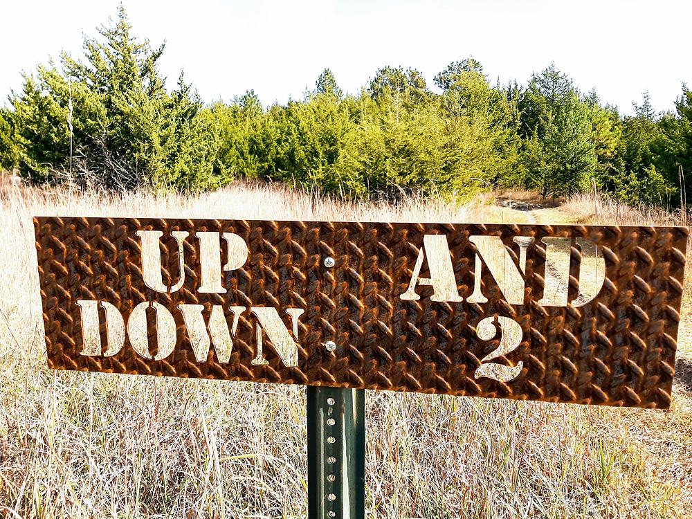 Trail signs, Fancy Creek Trail, Fancy Creek Park, Tuttle Creek Lake Park, Randolph, Riley County Kansas