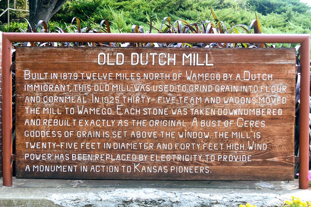 Schonhoff Dutch Mill, City Park, Wamego Kansas, Pottawatomie County, travel visit Kansas, Built in 1879 by a Dutch Immigrant, grain mill, Ceres, goddess of grain. Kansas Pioneers