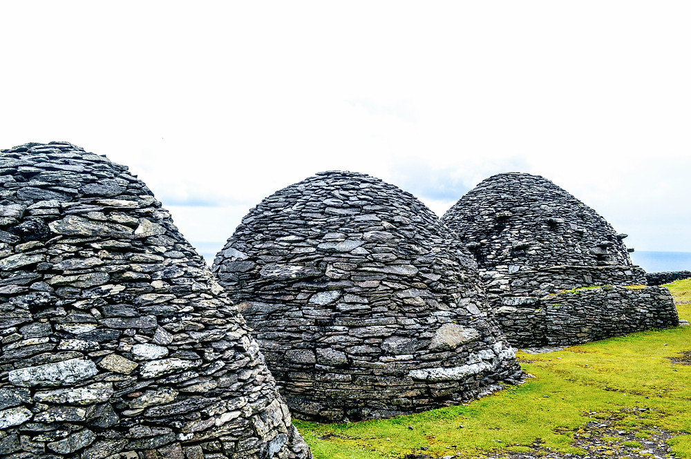 Skellig Michael, off the cost of the Kerry Peninsula in Ireland, ancient monk colony, Beehive huts