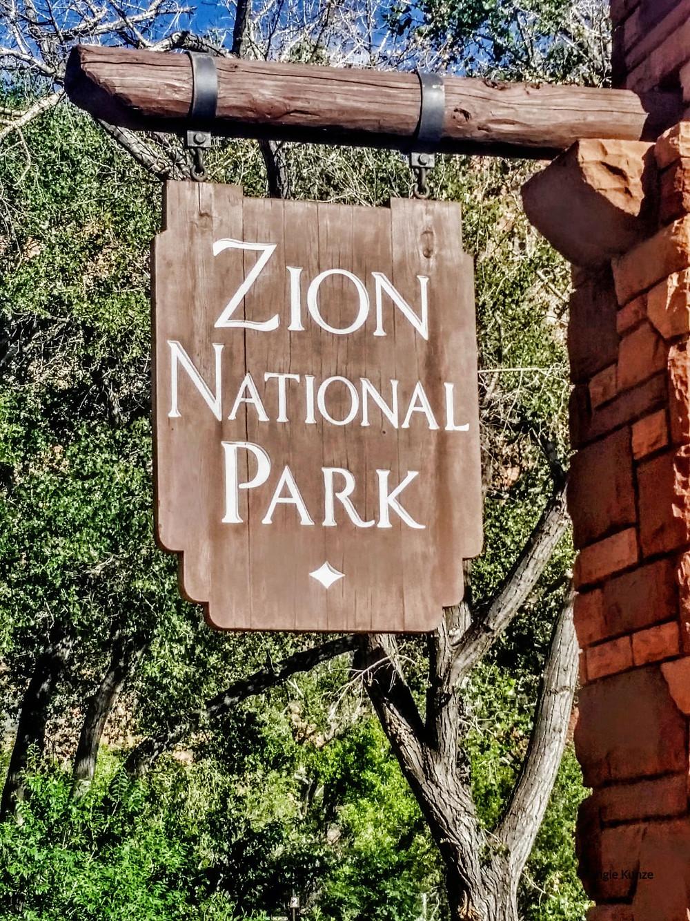 Zion National park sign, near Springdale Utah