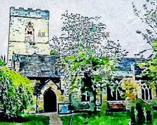 """holy trinity church"" watercolor york england"
