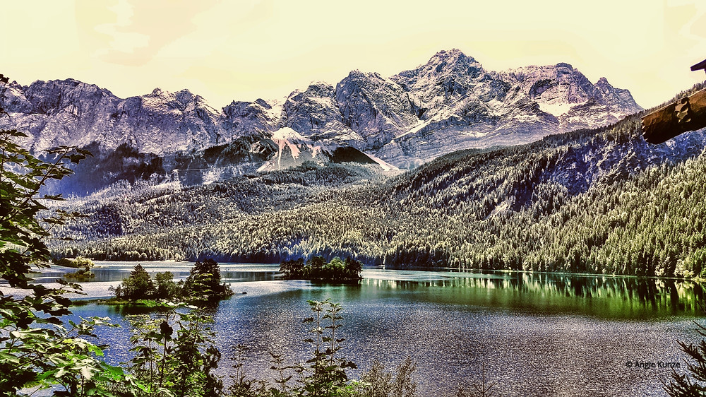 Eibsee Lake at the base of Zugspitze, Germany's highest mountain in Bavaria