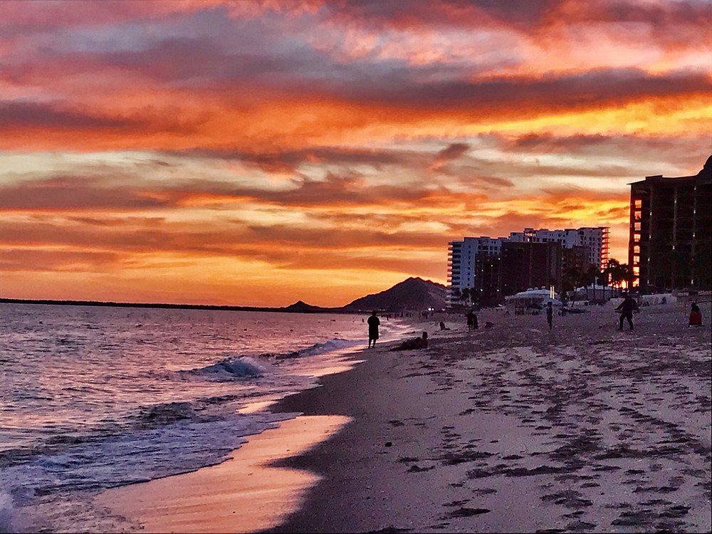 Sunset on the beach of the Sea of Cortez, Gulf of California, Puerto Penasco, Rocky Point Mexico