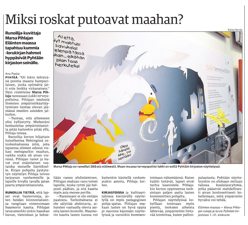 Kymen Sanomat -artikkeli, Eläinten maassa tapahtuu kummia! -näyttely,Marsa Pihlaja