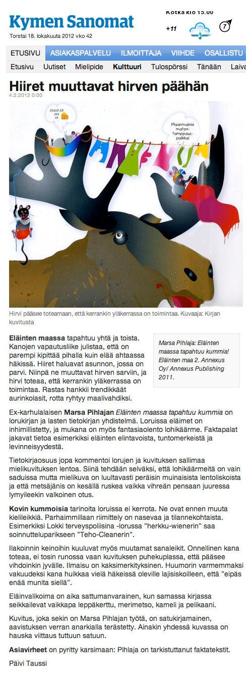 Kymen Sanomat, Eläinten maassa tapahtuu kummia! -näyttely, Marsa Pihlaja