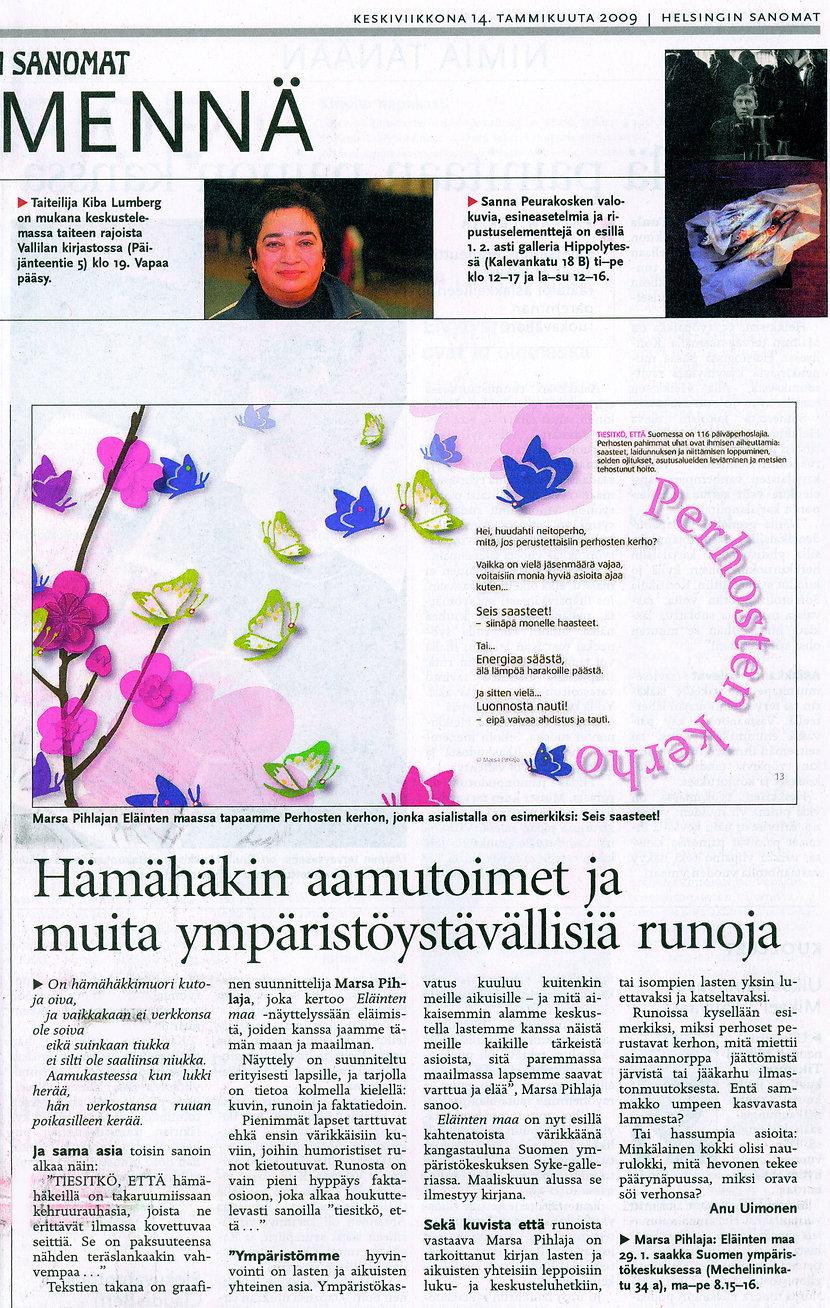 Helsingin Sanomat -artikkeli, Eläinten maa -näyttely, Marsa Pihlaja