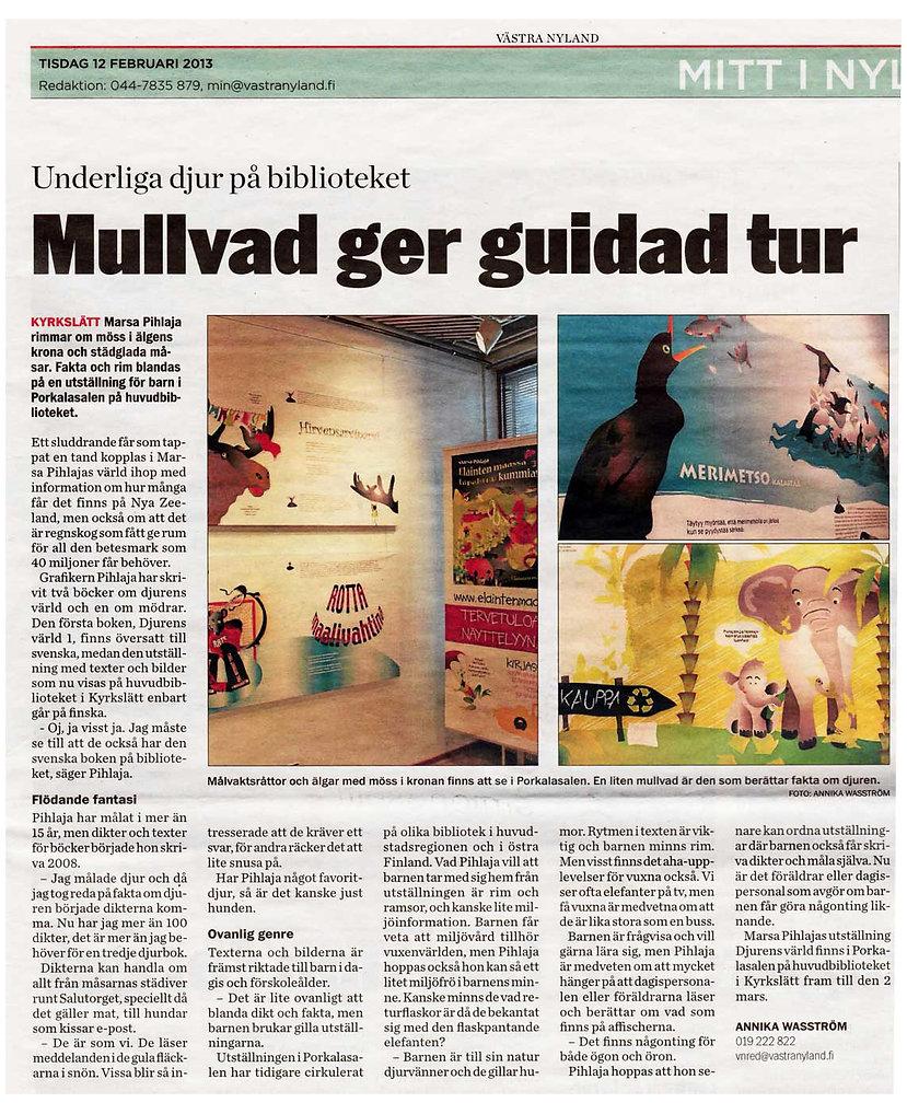 Västra Nyland -artikkeli Eläinten maassa tapahtuu kummia! -näyttely,Marsa Pihlaja